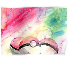 Pokeballs - watercolour Poster