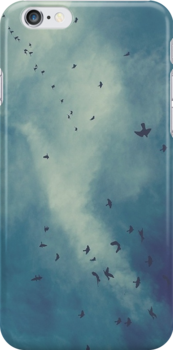 Sky with birds iphone or ipod case by pandasinspace