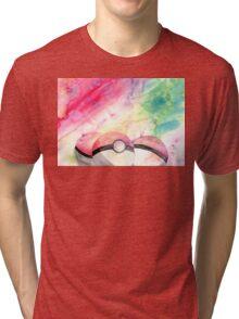 Pokeballs - watercolour Tri-blend T-Shirt