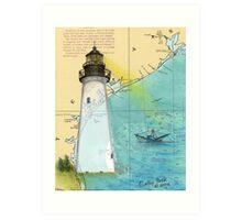 Port Isabel Lighthouse TX Nautical Chart Cathy Peek Art Print