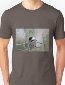 Chickadee in the pine tree Unisex T-Shirt