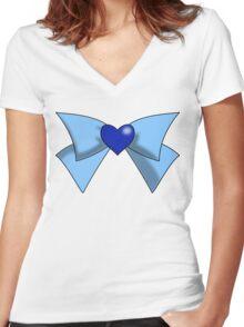 Super Sailor Mercury Bow Women's Fitted V-Neck T-Shirt
