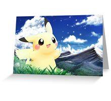 Pokemon Pikachu Cute Sky Art Greeting Card