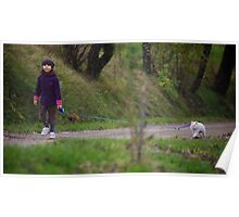 Girl Walking Her Cat Poster