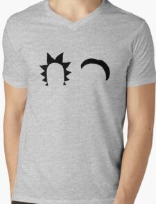 Rick & Morty minimalist (black) Mens V-Neck T-Shirt