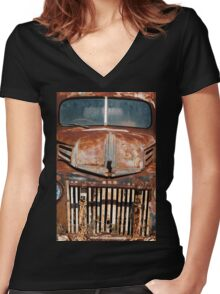 old truck Women's Fitted V-Neck T-Shirt