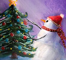 Cute Snowman Decorates Xmas Tree Folk Art Painting . by Leah McNeir