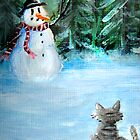 Cute Happy Snowman &amp; Cat in Winter - Folk Painting by Leah McNeir