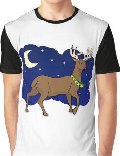 Night Reindeer Graphic T-Shirt