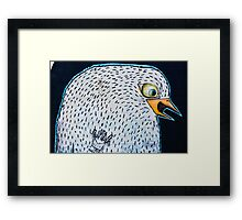 Abstract Graffiti Bird on the textured wall Framed Print