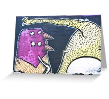 Abstract Graffiti Birds on the textured wall Greeting Card