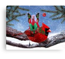 The Cardinal & The Christmas Fairy Canvas Print