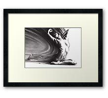 Fount iv - conté drawing  Framed Print