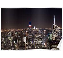 Manhattan skyline at night Poster