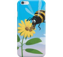 Happy cartoon bee with yellow flower iPhone Case/Skin