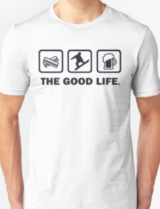 Bacon Snowboarding Beer The Good Life T-Shirt