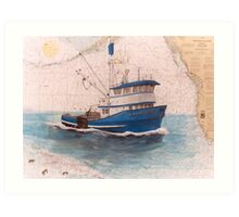 Northern Dawn Crab Fish Boat Cathy Peek Nautical Map Art Print