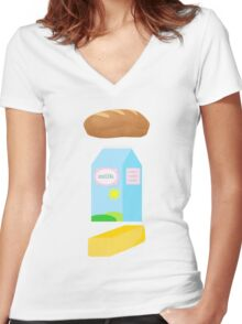 A loaf of bread, a container of milk, and a stick of butter Women's Fitted V-Neck T-Shirt