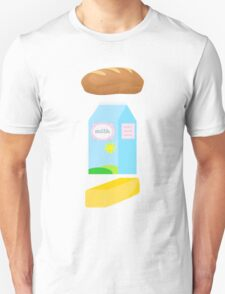 A loaf of bread, a container of milk, and a stick of butter Unisex T-Shirt