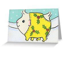 Fluffy White Guinea-pig in a Christmas Onesie - Watercolor Greeting Card