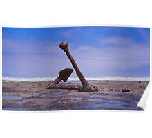 Old Boat anchor, Wreck Beach, Great Ocean road Poster
