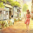 The bright Morning. A cafe in Paris. by Natalya   Tabatchikova