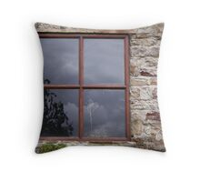 Stone Wall & Old Window Throw Pillow