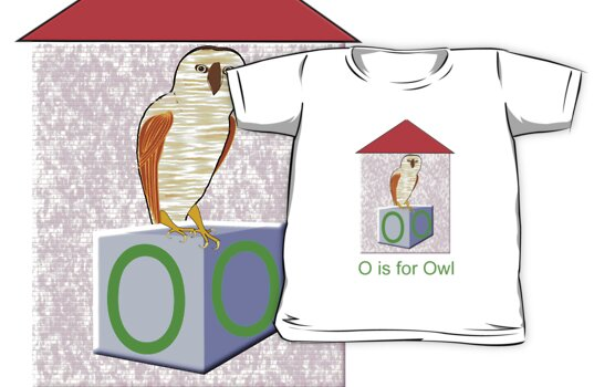 O is for Owl Play Brick T-shirt by Dennis Melling