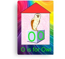 O is for Owl Play Brick Canvas Print
