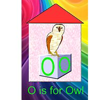 O is for Owl Play Brick Photographic Print