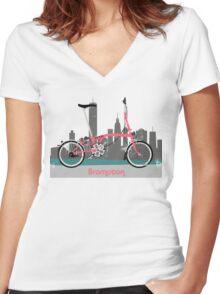 Brompton City Bike Women's Fitted V-Neck T-Shirt
