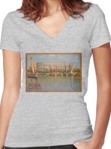 Vintage poster - Italy Women's Fitted V-Neck T-Shirt