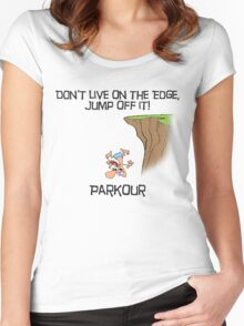 Parkour - Don't live on the edge, jump off it Women's Fitted Scoop T-Shirt