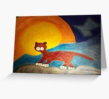 Red cat on the edge Greeting Card