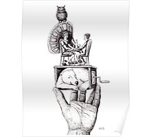 Balance of Love surreal pen ink black and white drawing Poster