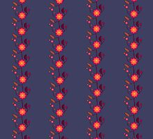 Orange floral pattern on dark violet by CatchyLittleArt