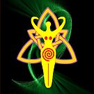 Pagan Goddess on Triquetra Knot iPad case by Dennis Melling