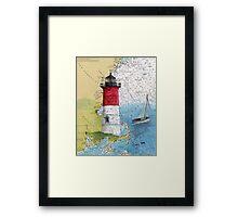 Nauset Beach Lighthouse MA Cape Cod Map Cathy Peek Framed Print