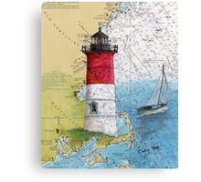 Nauset Beach Lighthouse MA Cape Cod Map Cathy Peek Canvas Print