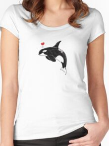 Cute Killer Whale Women's Fitted Scoop T-Shirt