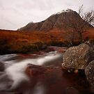 First snow of winter on Buachaille Etive Mor. by John Cameron