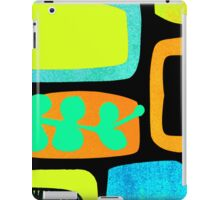 Retro Lozenge and Leaf Print in Orange iPad Case/Skin