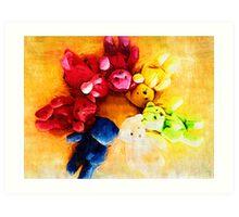 Colourful bears Art Print
