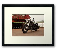 Old motorbike at the docks Framed Print