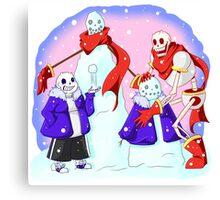 Snowmen Skelebros Canvas Print