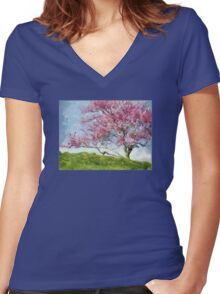 Pink Flowering Tree Women's Fitted V-Neck T-Shirt
