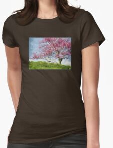 Pink Flowering Tree Womens Fitted T-Shirt