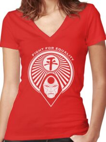 Fight for Equality with Amon Women's Fitted V-Neck T-Shirt