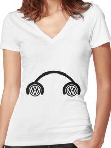 VW BUG new school Women's Fitted V-Neck T-Shirt