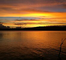 Beautiful summer sunset from Grace Lea Island, Lake Eucumbene by eucumbene